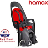 Hamax Caress Child Bike Seat, Ultra-Shock Absorbing Frame or Rack Rear Mount, Adjustable to Fit Baby Through Toddler 9 mo - 48.5 lb. 35-Year Award Winning European Brand.
