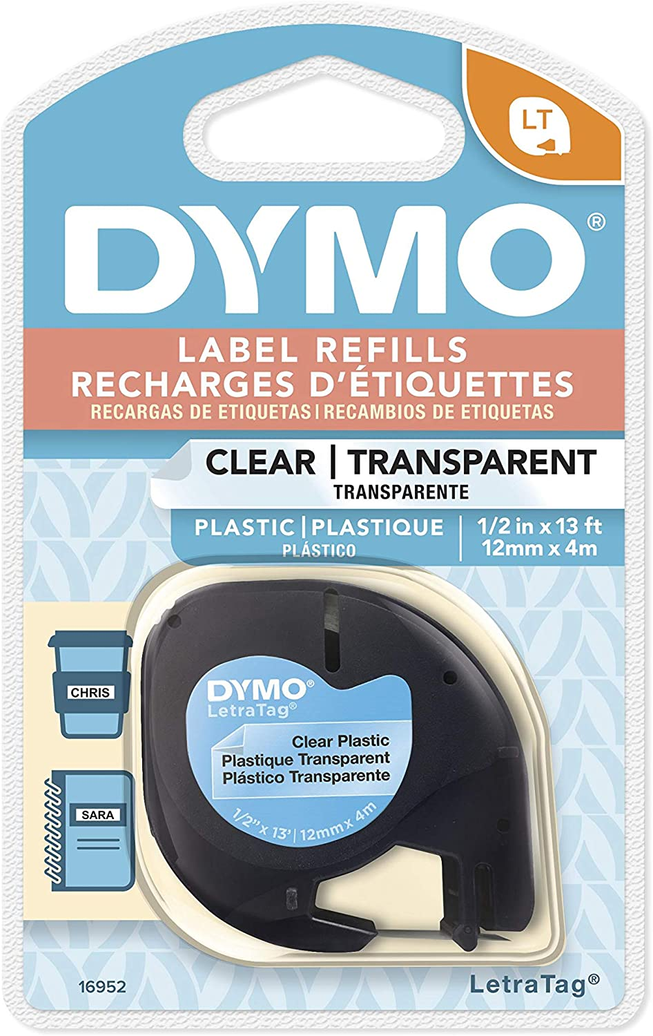 DYMO Authentic LetraTag Labeling Tape for LetraTag Label Makers, Black print on Clear pastic tape, 1/2'' W x 13' L, 1 roll (16952) : Dymo Letratag Refills : Office Products