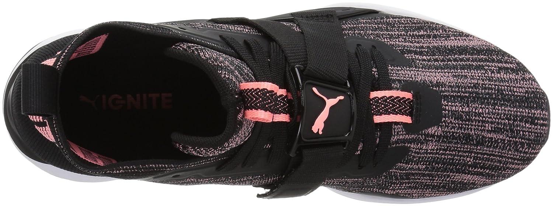 PUMA Women's Ignite Evoknit 2 Wn Sneaker B071K695HT 10.5 M US|Puma Black-asphalt-soft Fluo Peach