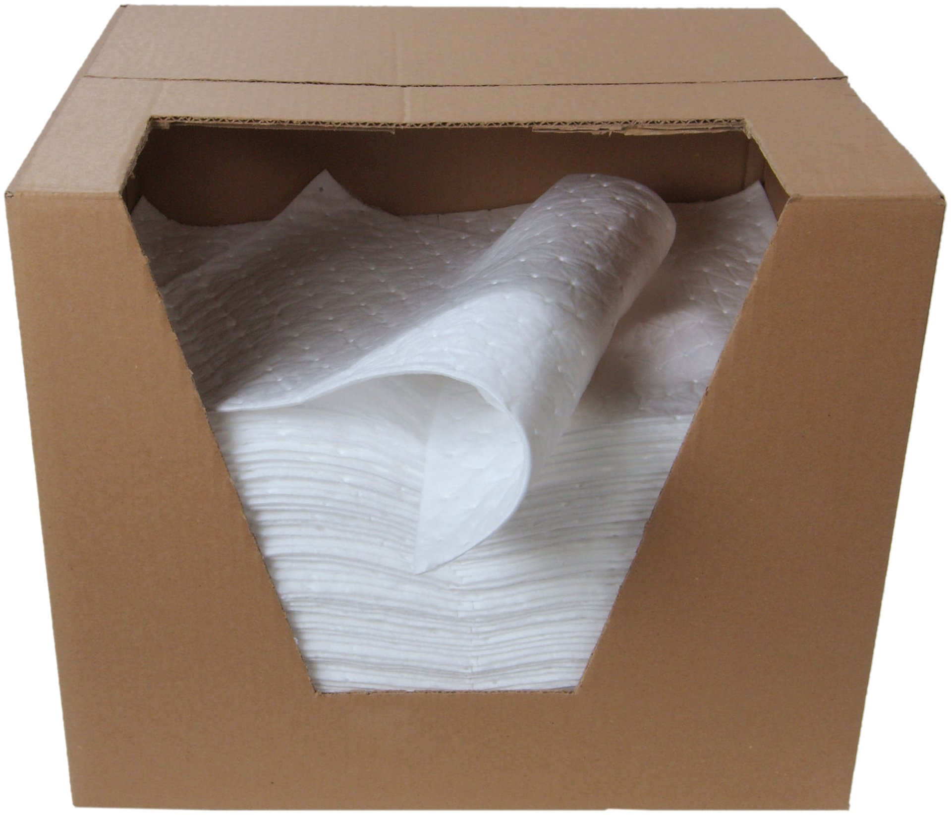 ESP 1MBWPSL Polypropylene Heavy Weight Meltblown Oil Only Absorbent Single Sided Laminated Pad, 18'' Length x 15'' Width, White (100 Per Bale)