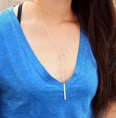Circle Lariat Necklace / Dainty Karma Necklace, Skinny Bar Drop Necklace / Delicate Gold Necklace Layering Drop, Long Y Necklace