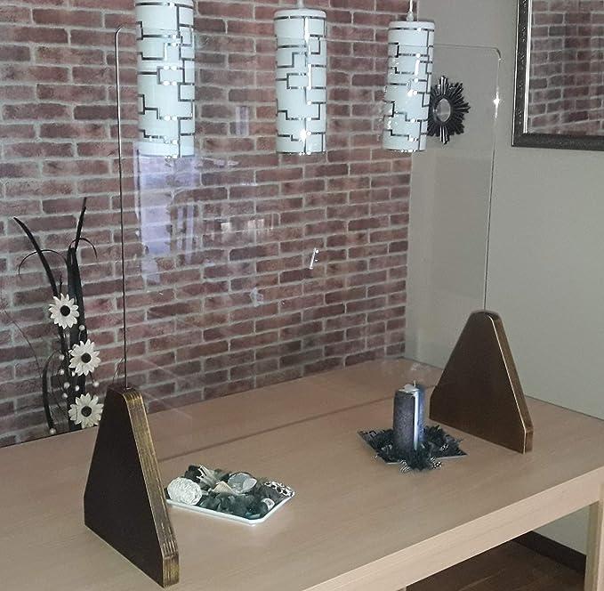 Mampara Mostrador en Cristal 108 * 90 * 29 Vidrio Seguridad Templado 6mm. Madera contrachapada 30mm Fabricado en la UE (Mad) 108 * 90 * 29 Natural: Amazon.es: Oficina y papelería