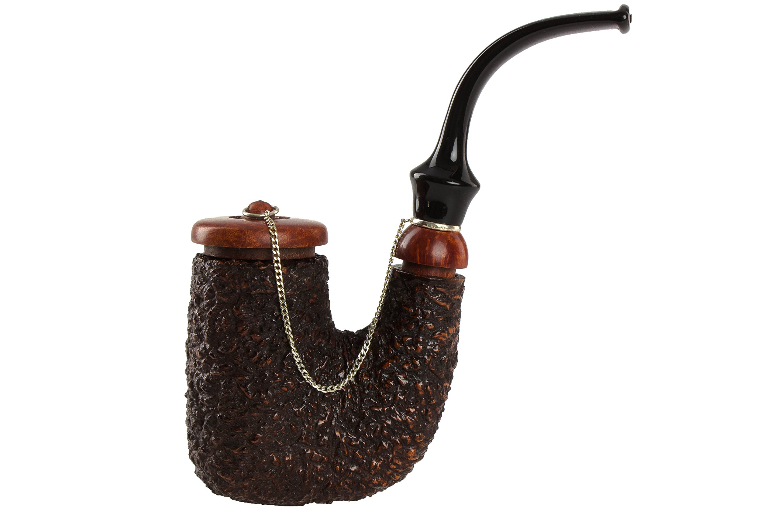 Brebbia Oom-Paul With Cap Tobacco Pipe - Rustic