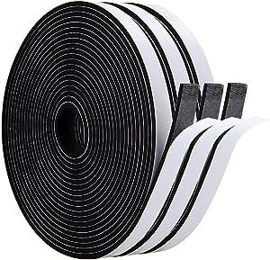 Adhesive Foam Seal Tape-1/2 Inch Wide X 1/8 Inch Thick,High Density Foam Strip Self Adhesive Neoprene Rubber Door Weather Stripping Insulation Foam Window Seal Total 59 Feet Long(19.7ft x 3 Rolls)