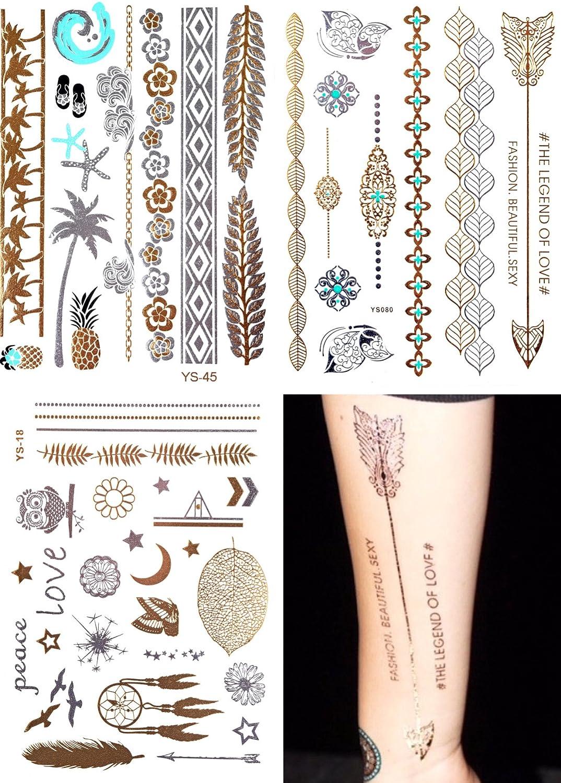 Oro adhesivo decorativo piel 3 unidades flash Tatuajes flash ...