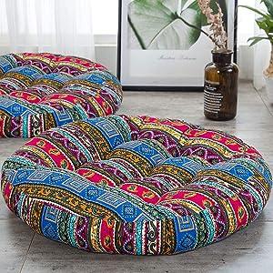 HIGOGOGO Boho Cushion, Large Pouf Cushion Round Meditation Floor Pillow Yoga Seat Cushion Cotton Linen India Mandala Cushion for Living Room Balcony Garden Party Decoration, 22 Inch, Stripe Blue
