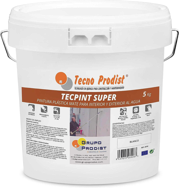 TECPINT SÚPER de Tecno Prodist - 5 Kg (BLANCO) Pintura para Exterior e Interior al Agua - Alta cubrición y blancura - Lavable - Fácil Aplicación