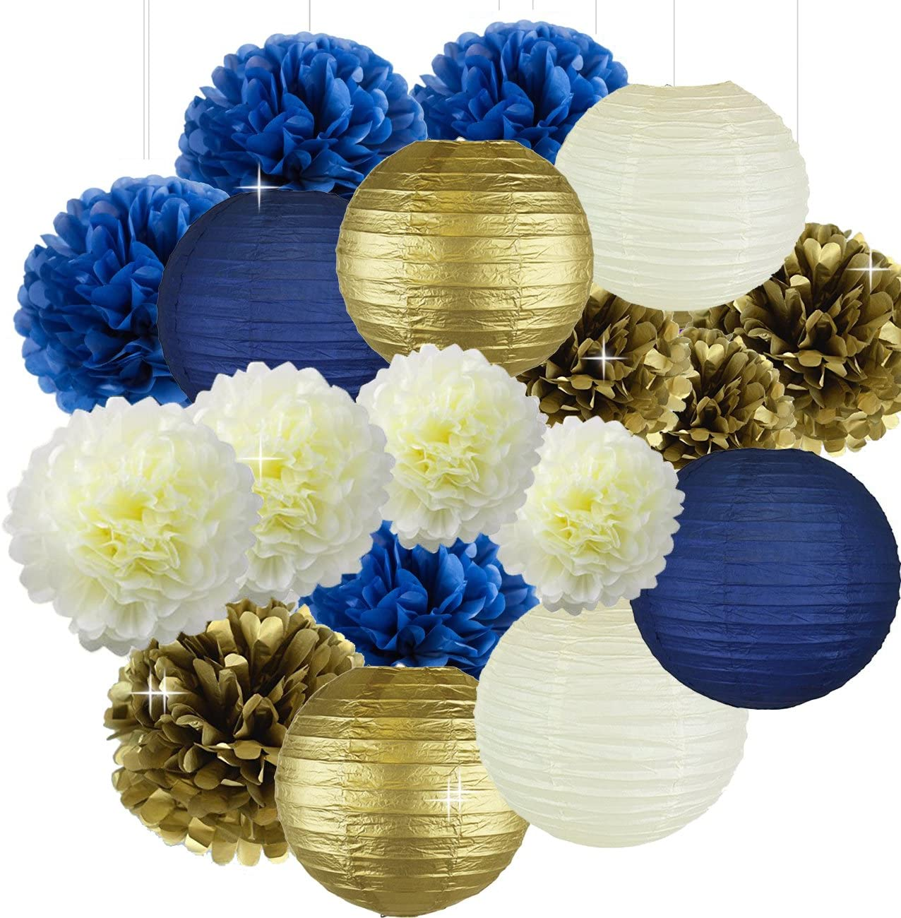 Cream Navy Blue Gold 8inch 10inch Tissue Paper Pom Pom Paper Flowers Paper Honeycomb Paper Lanterns for Navy Blue Themed Party,Party Decoration Bridal Shower Decor Baby Shower Decoration