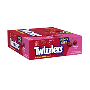 TWIZZLERS Pull 'n' Peel Licorice Candy, Cherry, 4.2 Ounce (Pack of 15)