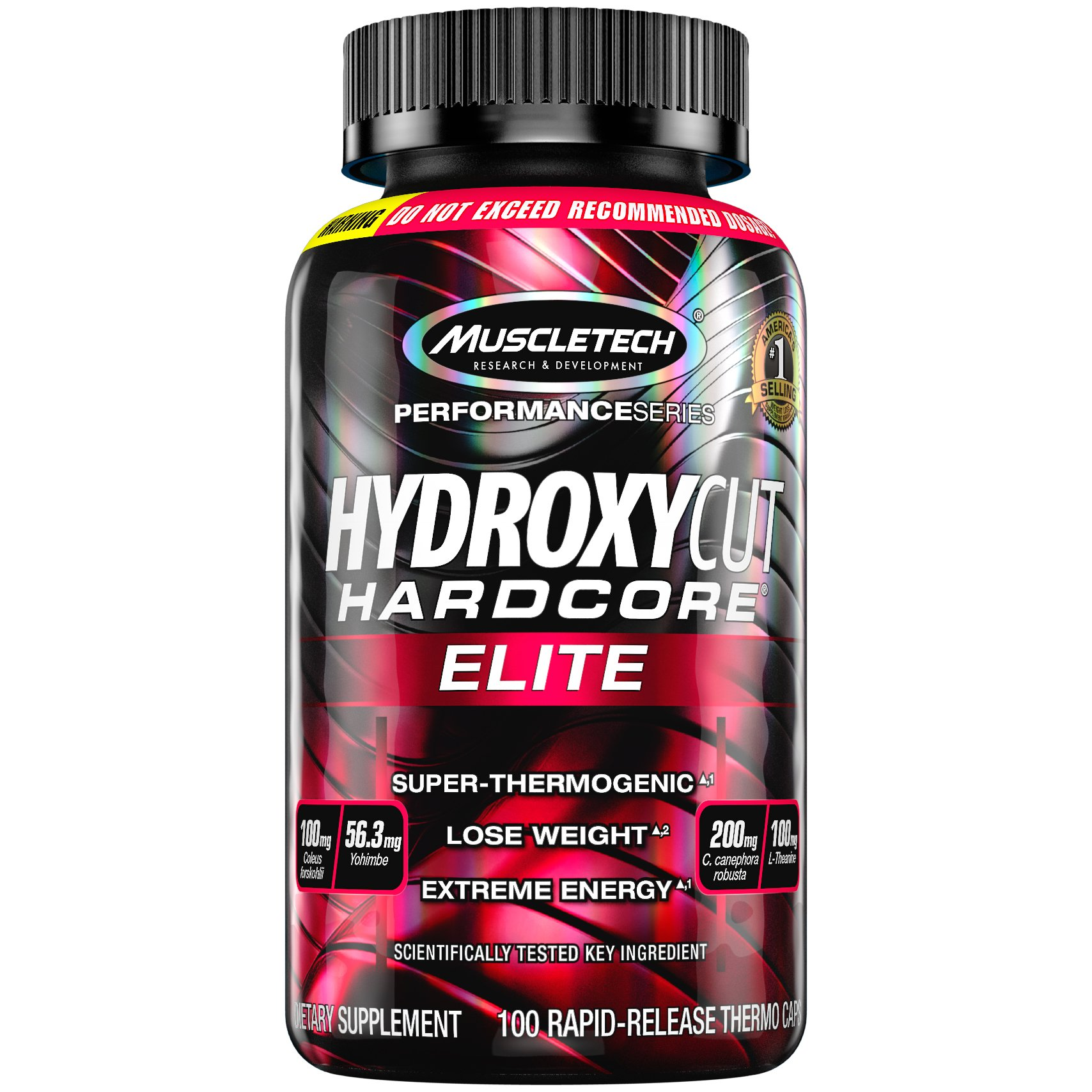 Hydroxycut Hardcore Elite, 100ct, 100mg Coleus Forskohlii, 56.3mg Yohimbe, 200mg Green Coffee, 100mg L-Theanin,200mg C.canephora Robusta (Packaging May Vary)