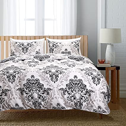 White Black Baroque Bedding Floral Duvet Cover Set Black Flower Printed  White And Black Bohemian Bedding
