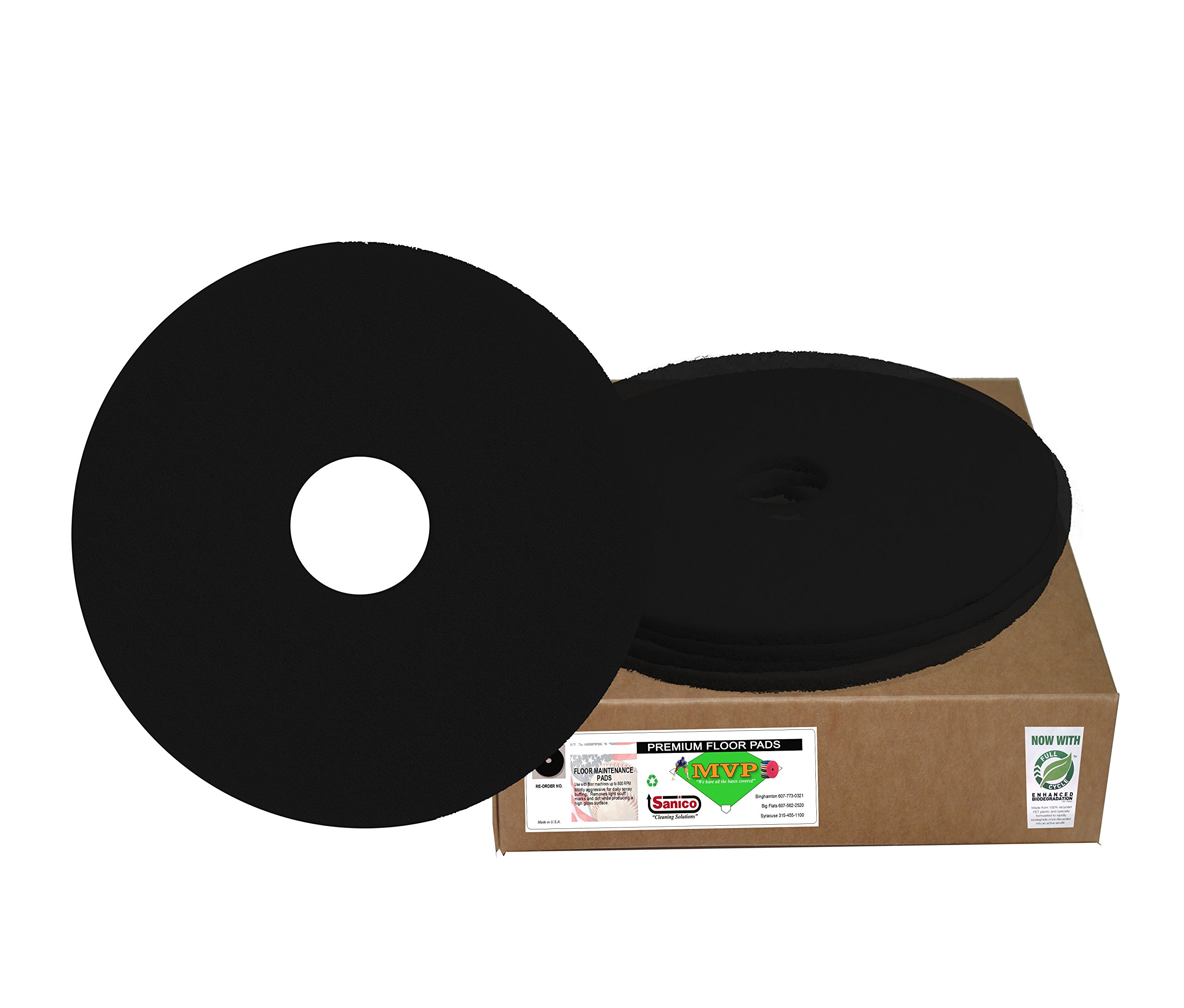 Sanico MVP Reliever 19'' Black Stripping Floor Pad Wet Strip (5 per case) -(1 CASE) by Sanico
