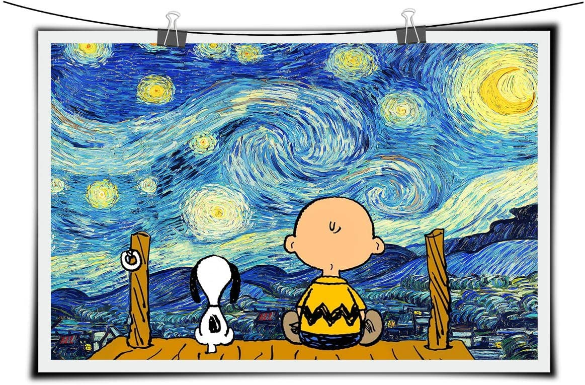 Keep Looking Up - Starry Night Van Gogh Artwork Movie Poster Art Print Wall Décor Quote kids room décor NO Framed 16x24 inch