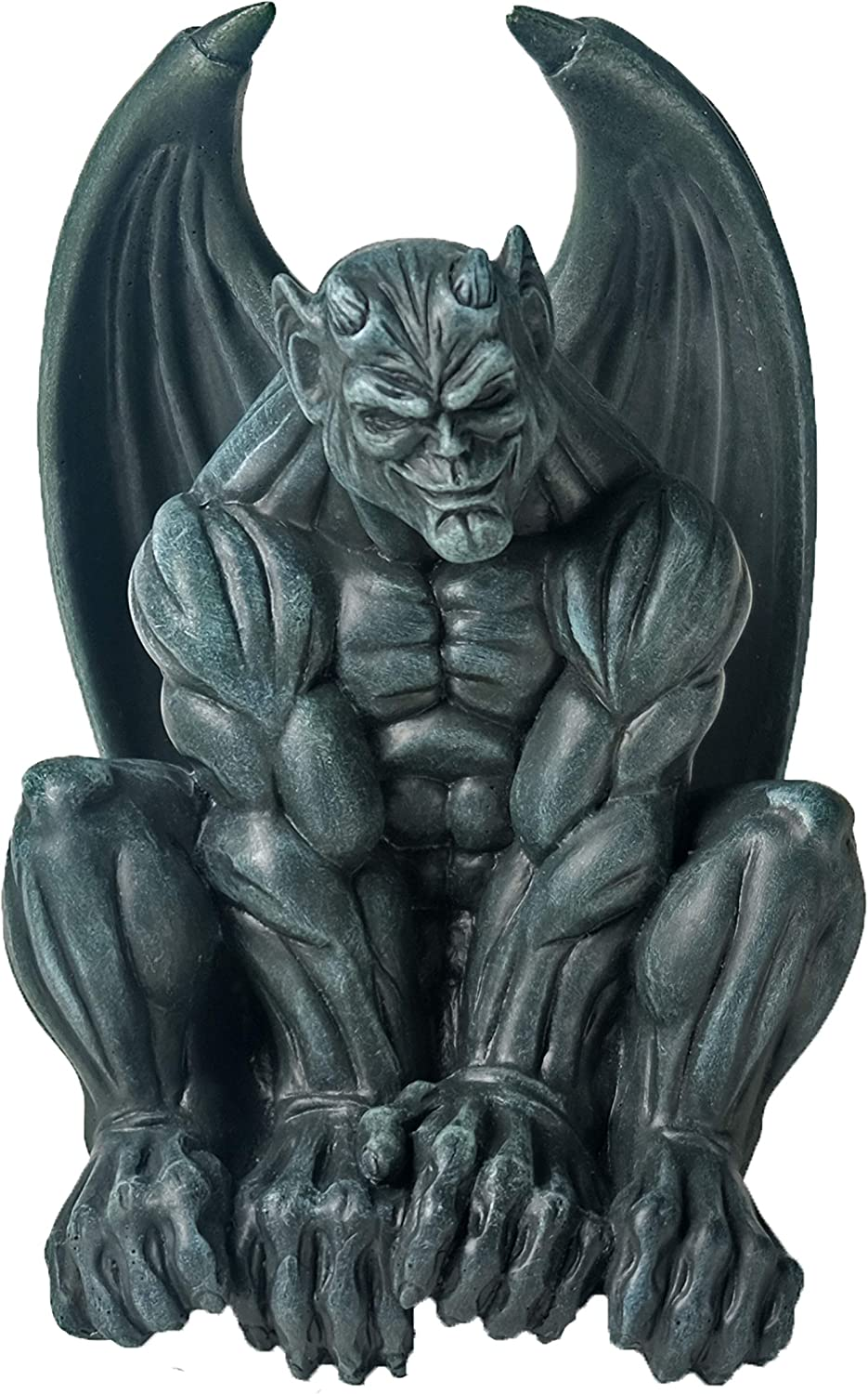 "BELLA HAUS DESIGN Gothic Gargoyle Statue 4"" x 8"" - Polyresin Indoor or Outdoor Décor Detailed Gargoyle Sculpture Statue – Medieval Gargoyle for Mantel Office Bedroom Garden Decoration"