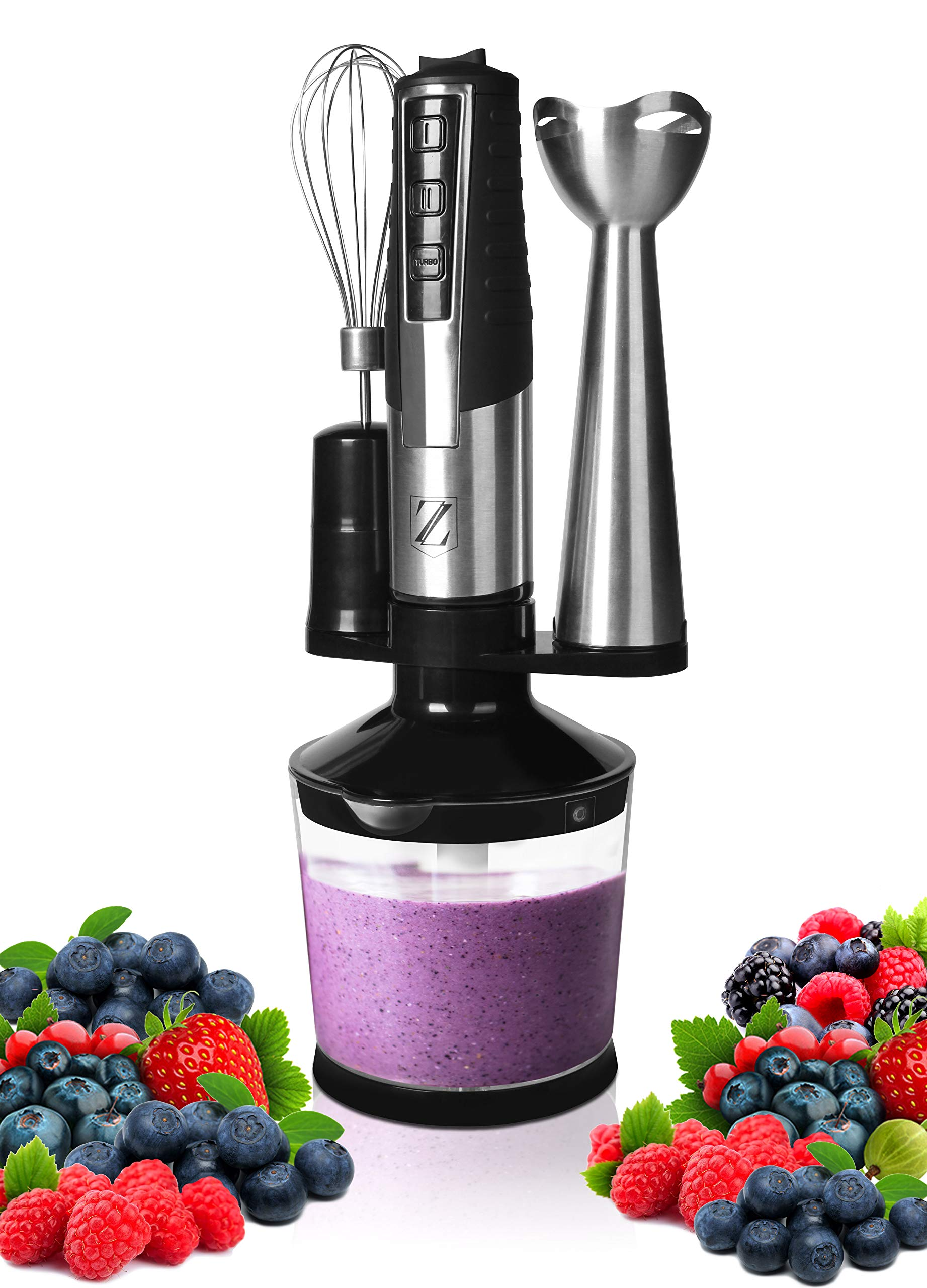 Zoyer Powerful Multifunctional Electric Immersion Hand Blender Set - 3 Touch System & Rotating Adjustable Speed - Come with 8'' Removable Blending Arm Soft & Non-Slip Handle by ZOYER
