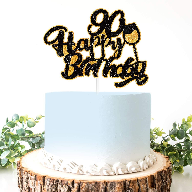Amazing Amazon Com Aerzetix Birthday Decoration Happy 90Th Birthday Cake Personalised Birthday Cards Petedlily Jamesorg