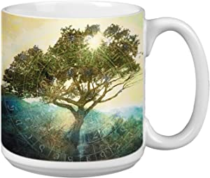 Tree of Time Extra Large Mug, 20-Ounce Jumbo Ceramic Coffee Mug Cup, Nature Themed Elena Ray Art, Gift for Coffee Lovers Tree-Free Greetings
