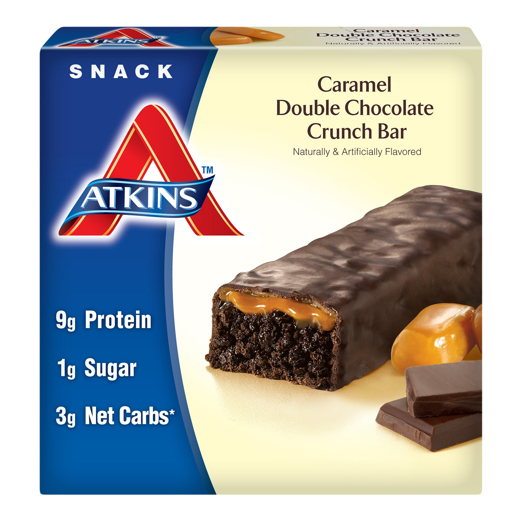 Atkins Advantage Caramel Bars, Double Chocolate Crunch, 5-Count, 1.6-Ounce Bars (Pack of 3) by Atkins