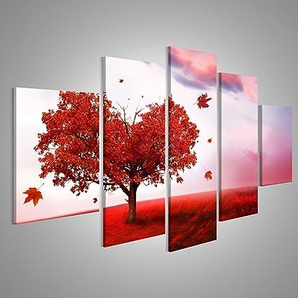 Quadro moderno Cuore Albero Love Field Red Stampa su tela - Quadro x ...