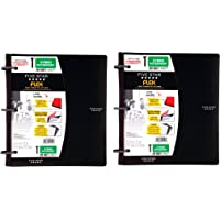 Five Star Flex Hybrid NoteBinder, 1 Inch Binder with Tabs, Notebook and 3 Ring Binder All-in-One, Black (72009) 2 Pack