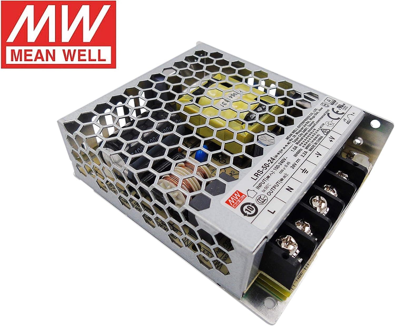 MeanWell Fuente de alimentacion 50W 24V 2.2A Enclosed LRS-50-24 Power Supply AC/DC