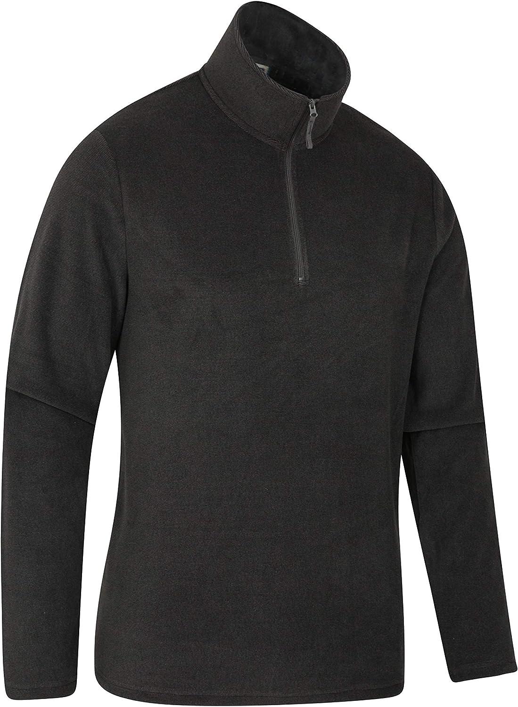 Best for Camping Microfleece Hiking Trekking Antipill Sweater Easy Care Pullover Mountain Warehouse Hebridean Half Zip Fleece Top