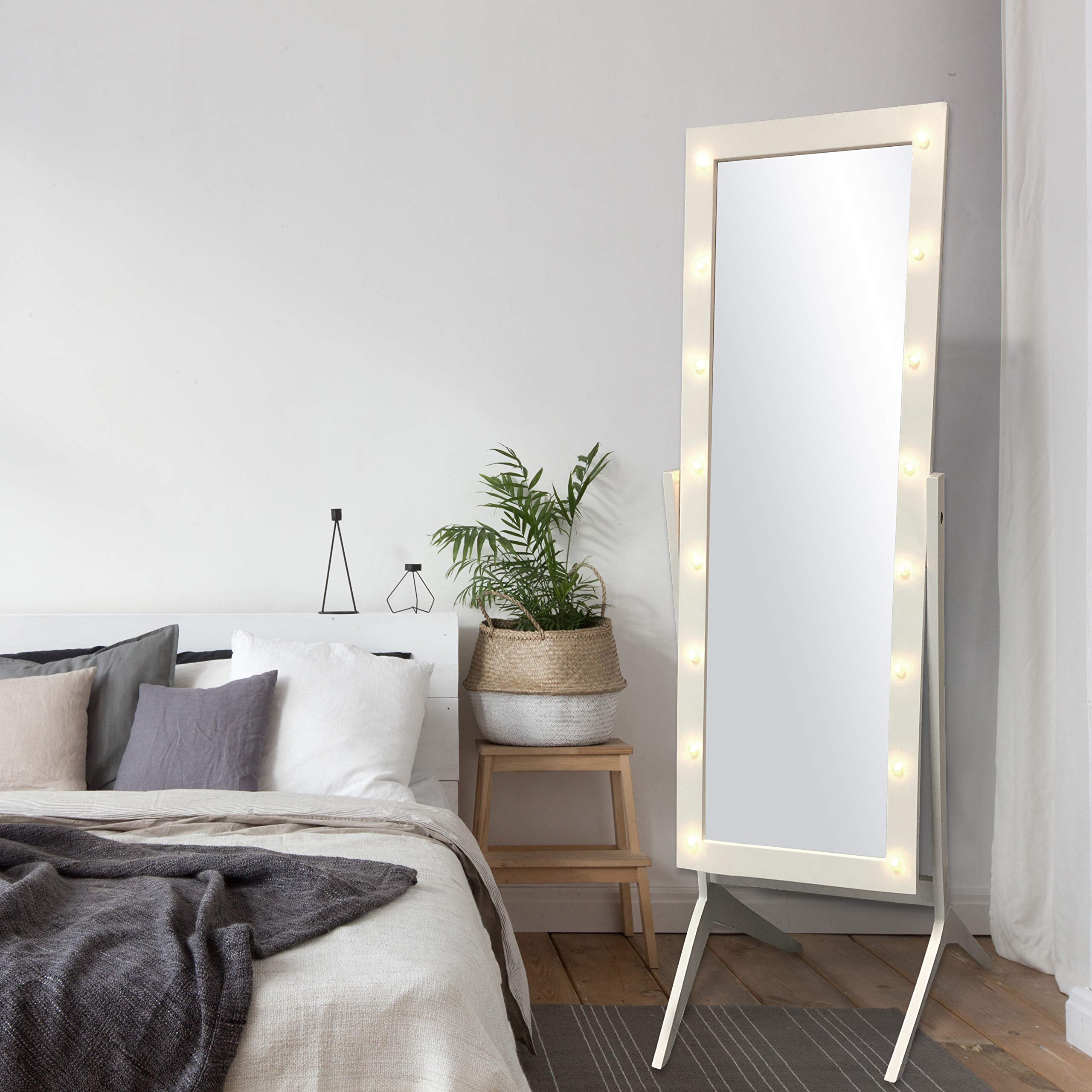 eHomeProducts White Finish LED Lights Wooden Cheval Bedroom Floor Mirror Stand Hollywood Style Makeup Mirror by eHomeProducts