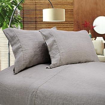 Simpleu0026Opulence 100% Linen Sheet Set Full Embroidery Linen (1 Flat Sheet,1 Fitted  Sheet,2 Pillowcases)
