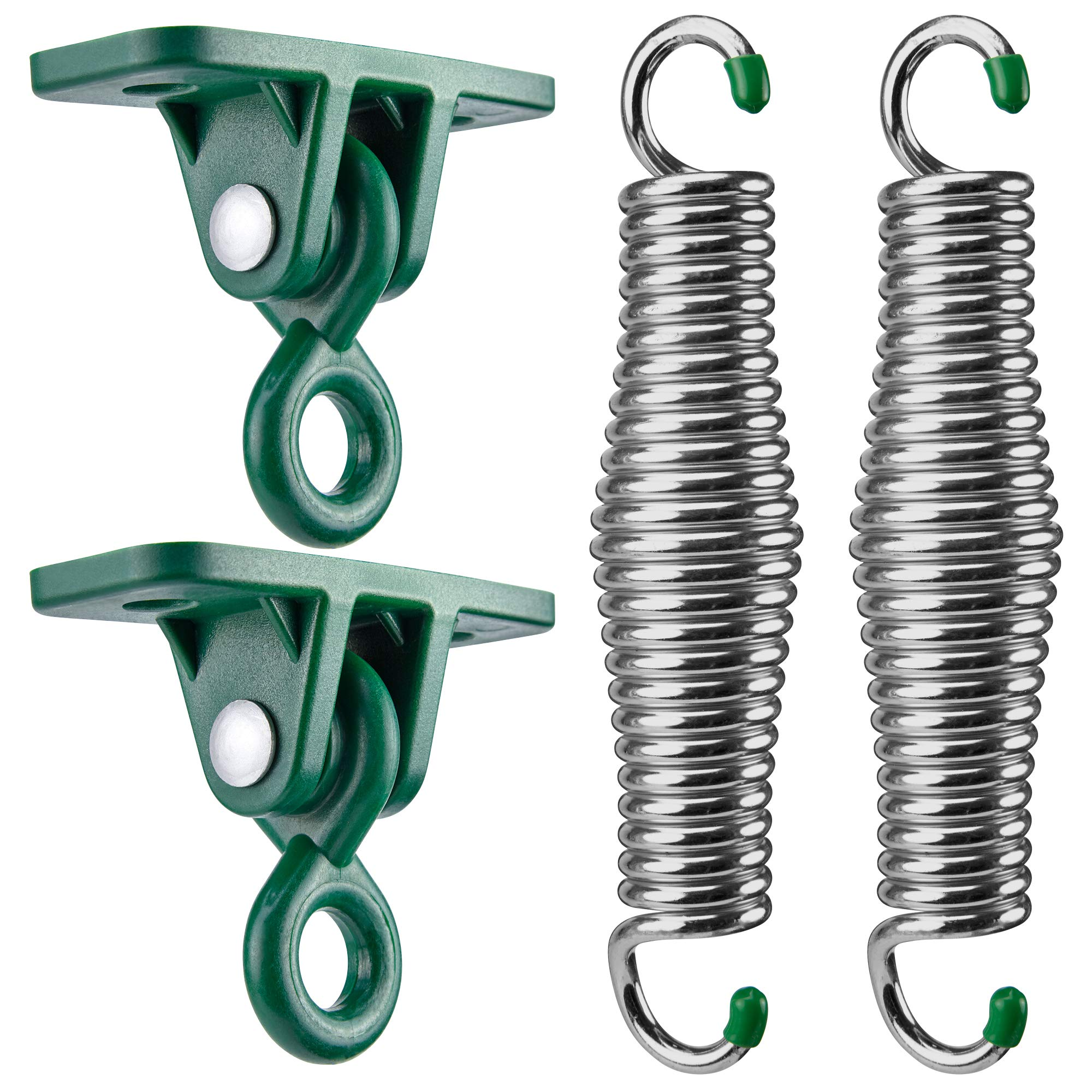 SwingMate Porch Swing Hanging Kit - 750 Lbs Capacity, with Heavy-Duty Suspension Swing Hangers, Safe for Hammock Chairs or Ceiling Mount Porch Swings - Rust Resistant Springs (Chrome) by SWING-MATE