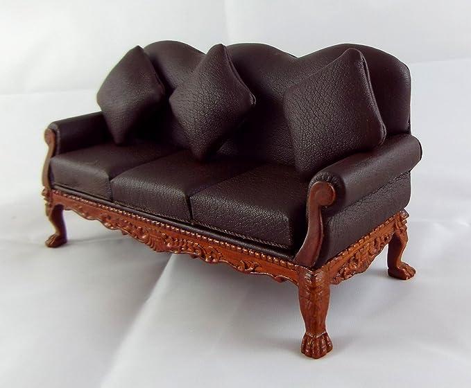 Amazon.es: Casa Muñecas Fino Miniatura Muebles Cuero Marrón ...