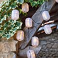 Lights4fun Guirlande Lumineuse LED Solaire avec 10 Lampions Chinois Ovales Blancs