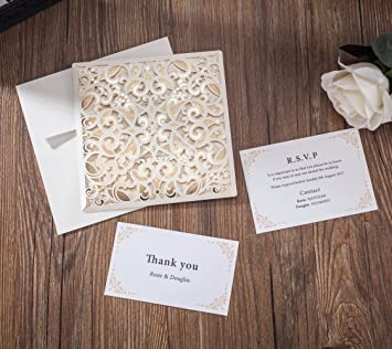 Amazon wishmade 50x laser cut lace invitations cards kit with wishmade 50x laser cut lace invitations cards kit with matched thank you card and rsvp card stopboris Image collections