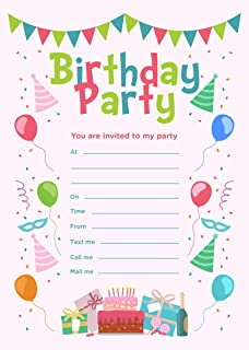 birthday party invitations with envelopes pack of 20