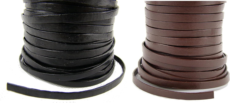 esnado – Banda de cuero, correa de cuero plano 7 mm x 1,5 mm, marrón, 5 m