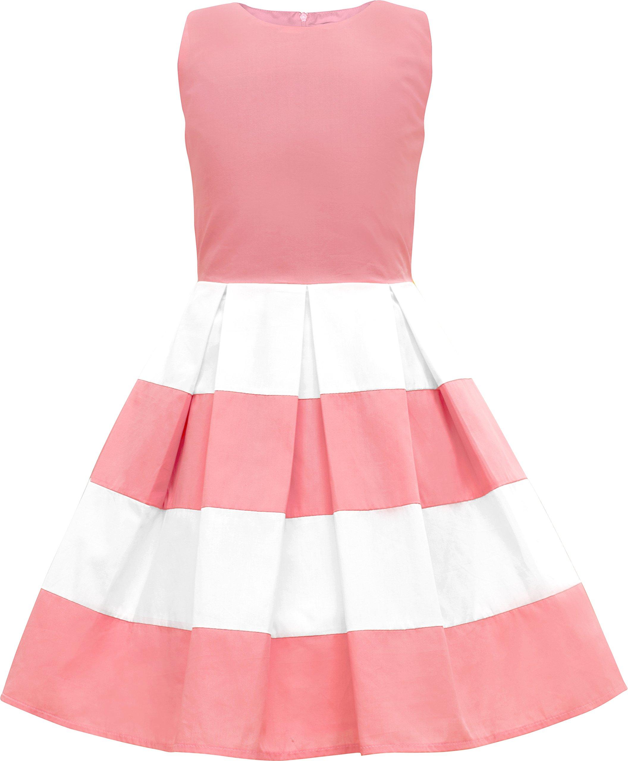 fe21ecf23 BlackButterfly Kids 'Lilly' Vintage Striped 50's Children's Girls Dress  (Pink, 9-10 YRS)