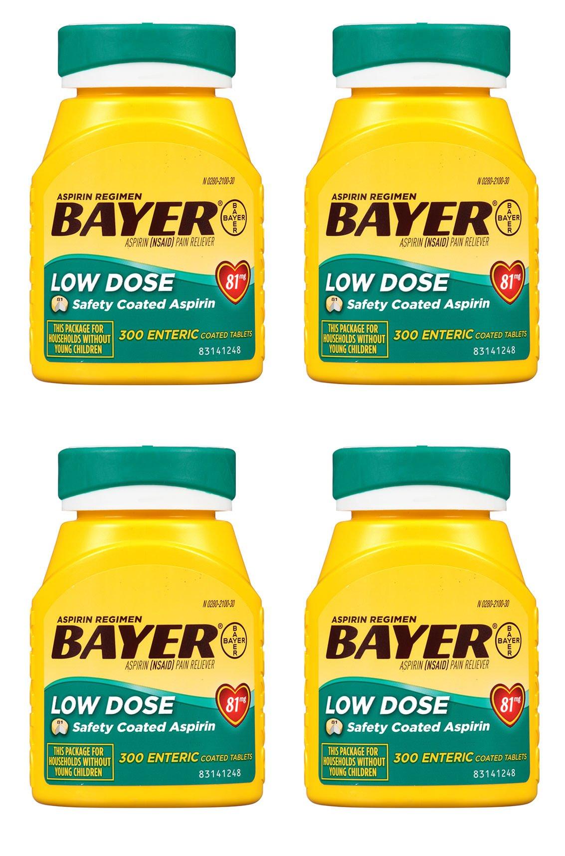 Bayer Aspirin Regimen, Low Dose (81 mg), Enteric Coated, 300 Count, 4 Pack