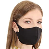 IKIDO Face Mask Reusable Washable, 3-Layers Cotton Cloth Masks for Nose and Mouth Breathable Cotton (Black, 1 Pack)