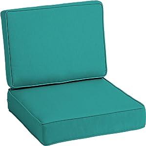 Arden Selections ProFoam EverTru Acrylic 24 x 24 x 6 Inch Outdoor Deep Seat Cushion Set, Surf Teal