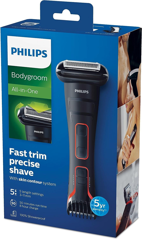 Philips BODYGROOM Series 7000 TT2039/13 afeitadora corporal Negro, Plata - Afeitadoras corporales (Batería, Níquel-metal hidruro (NiMH), 50 min, 8 h, 100-240 V ...