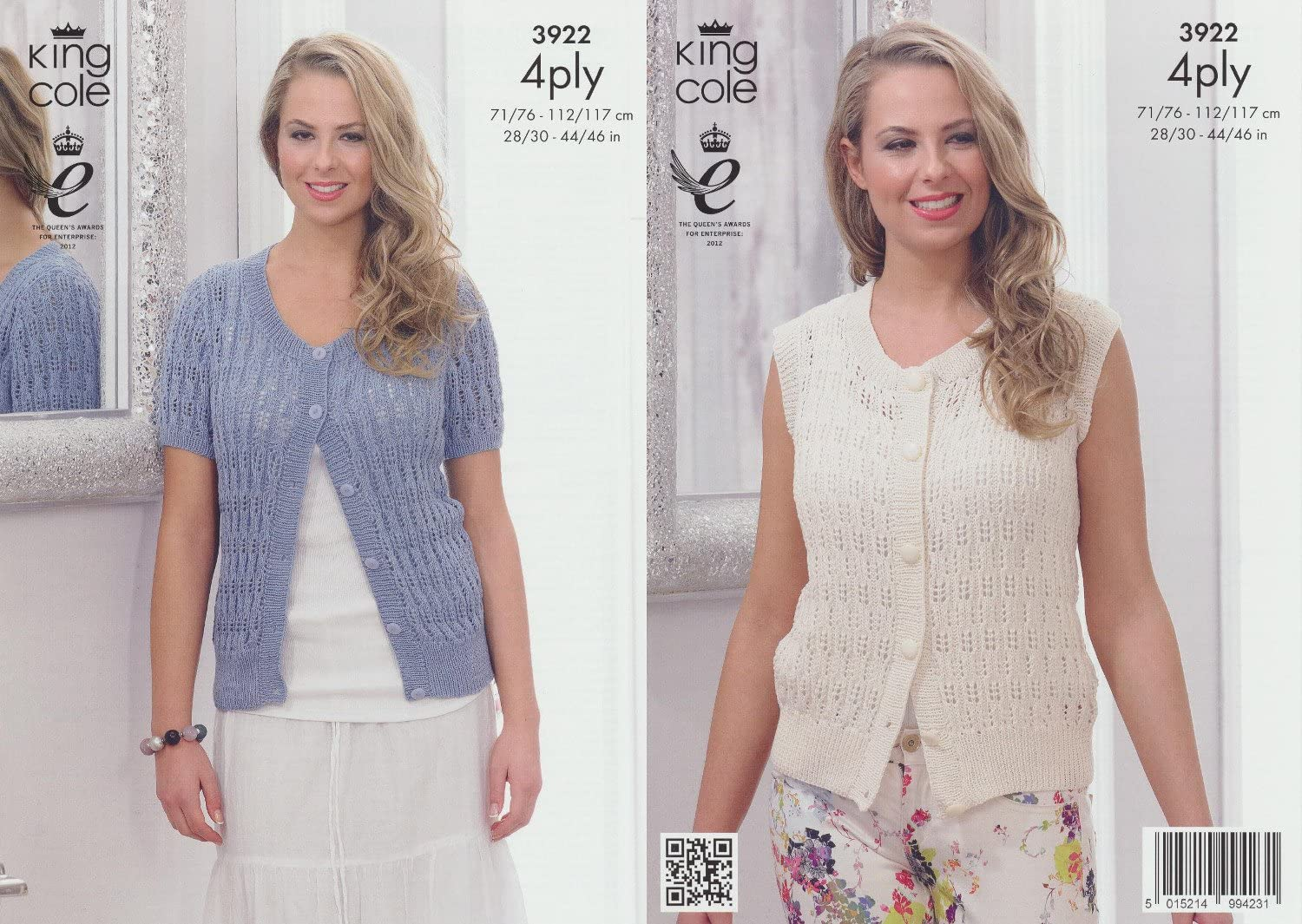King Cole Ladies 4ply Knitting Pattern Womens Short or Cap Sleeve Lacy Top 4786