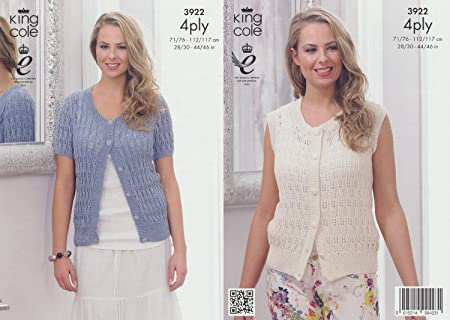 King Cole 4 Ply Pattern - 3922 Womens Short Sleeved Summer Cardigan ...