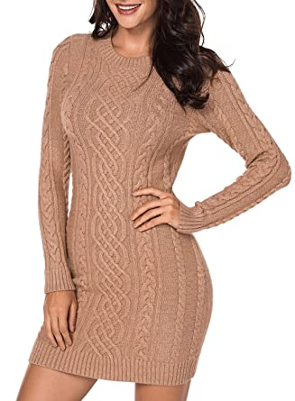 8a4c6cad051 Women s Long Sleeve Crew Neck Cable Knit Slim Fit Pullover Sweater Dress  Casual Bodycon Midi Pencil