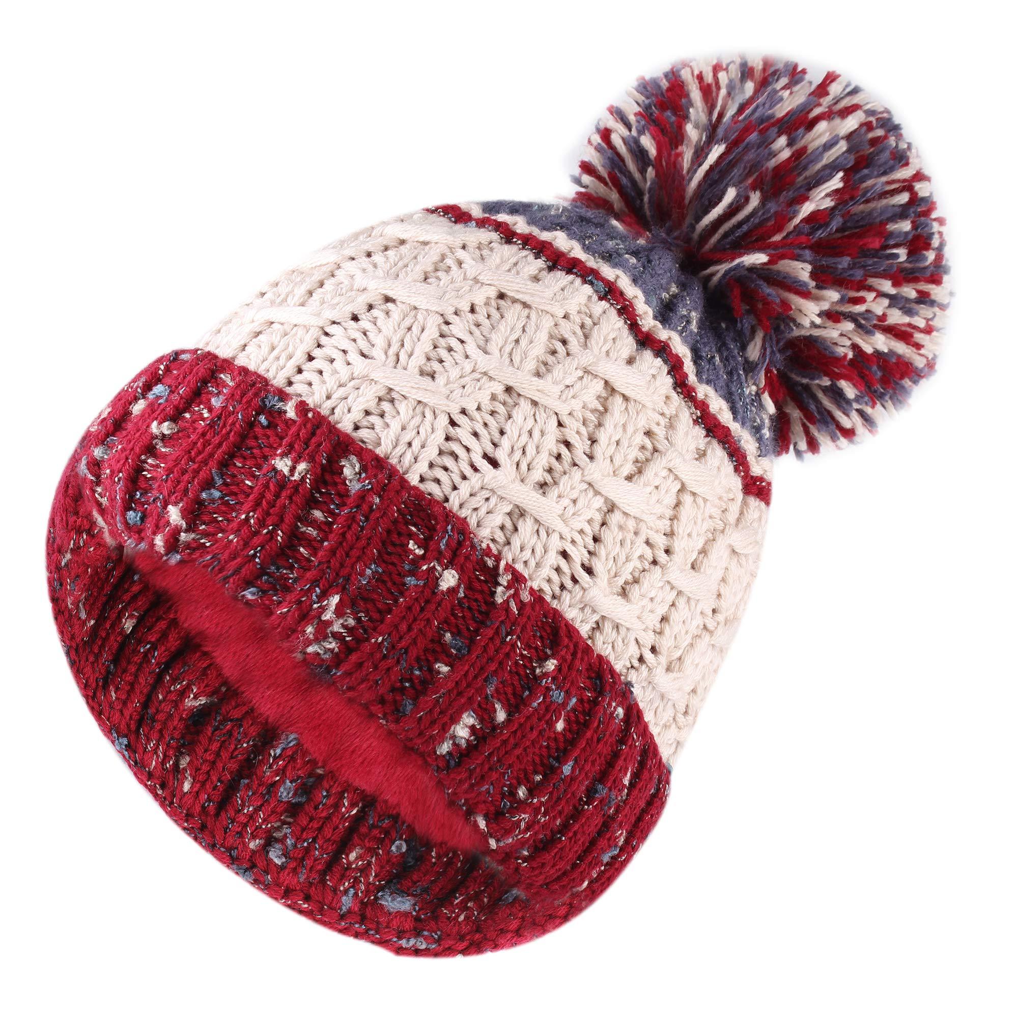 720d23cf14d FURTALK Winter Pom Poms Beanie Hat for Womens Girls Warm Lining Knit Ski Cap  Wine Red