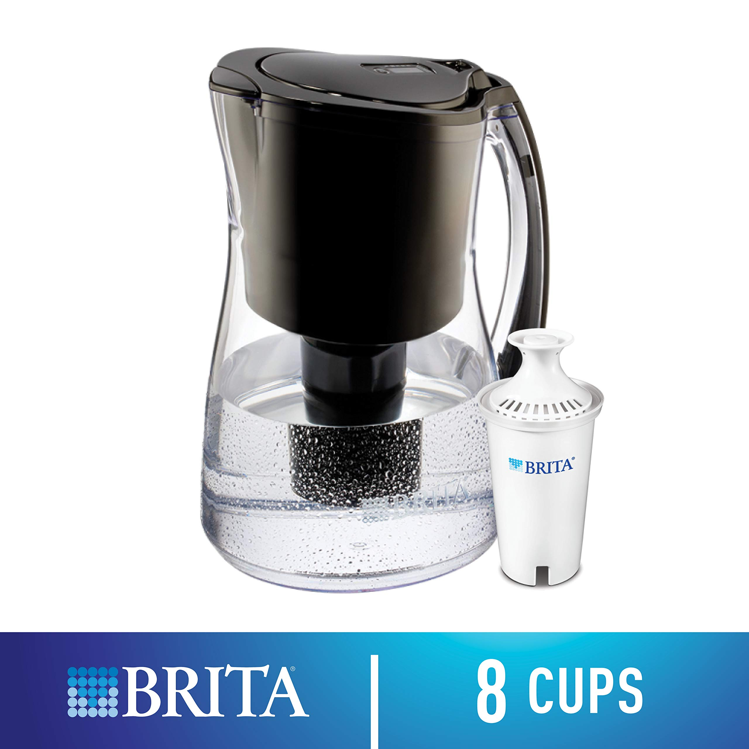 Brita Medium 8 Cup Water Filter Pitcher with 1 Standard Filter, BPA Free - Marina, Black by Brita (Image #1)