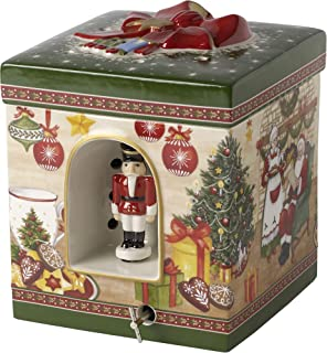 Villeroy & Boch Christmas Toys Caja de música Casa de Papá Noel, Porcelana, Verde