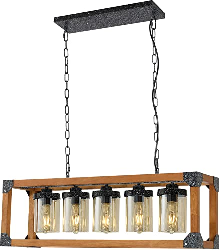 5-Light Wooden Kitchen Island Pendant Lighting, Wood Chandeliers Adjustable with Base E26 300W max No Bulbs Included
