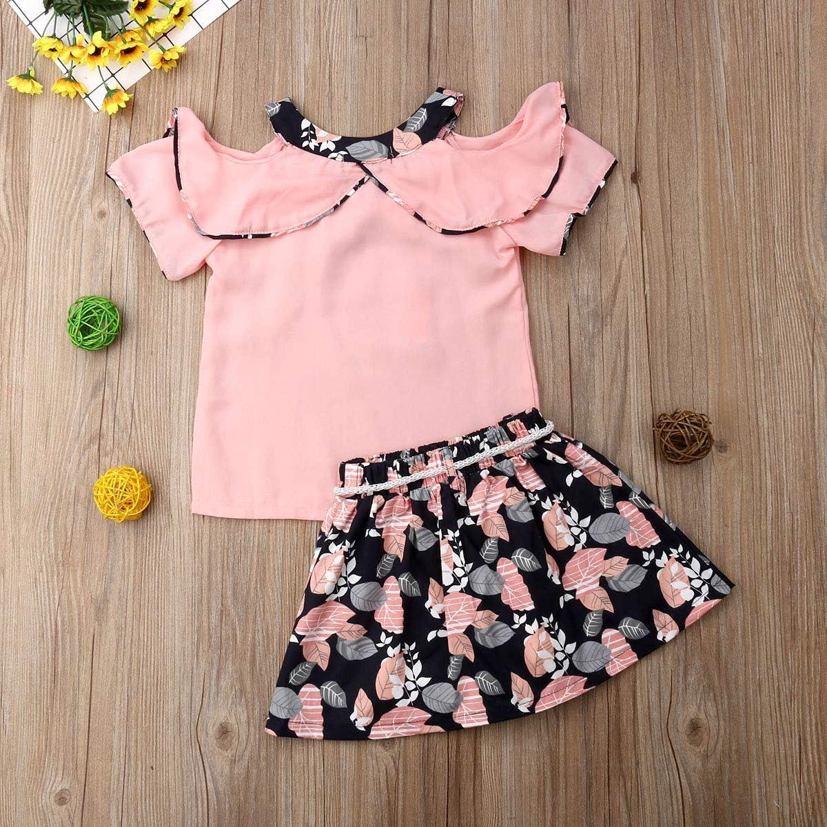 4-8 Years Little Girls Chiffon Tops Ruffle T Shirt Leaves Print Skirt with Tassel Belt 2Pcs Summer Outfit Sets