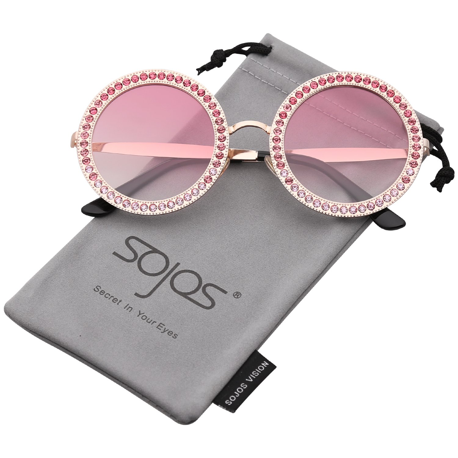 3a9b3408465 Amazon.com  SOJOS Round Oversized Rhinestone Sunglasses for Women Diamond  Shades SJ1095 with Gold Frame Gradient Pink Lens with Pink Diamond  Clothing