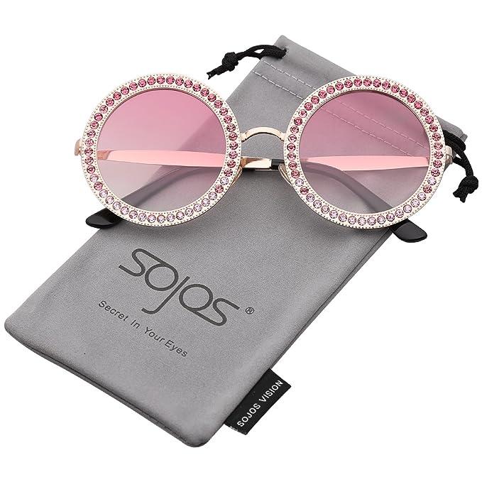 854287b1b1d5 SOJOS Round Oversized Rhinestone Sunglasses for Women Diamond Shades SJ1095  with Gold Frame Gradient Pink