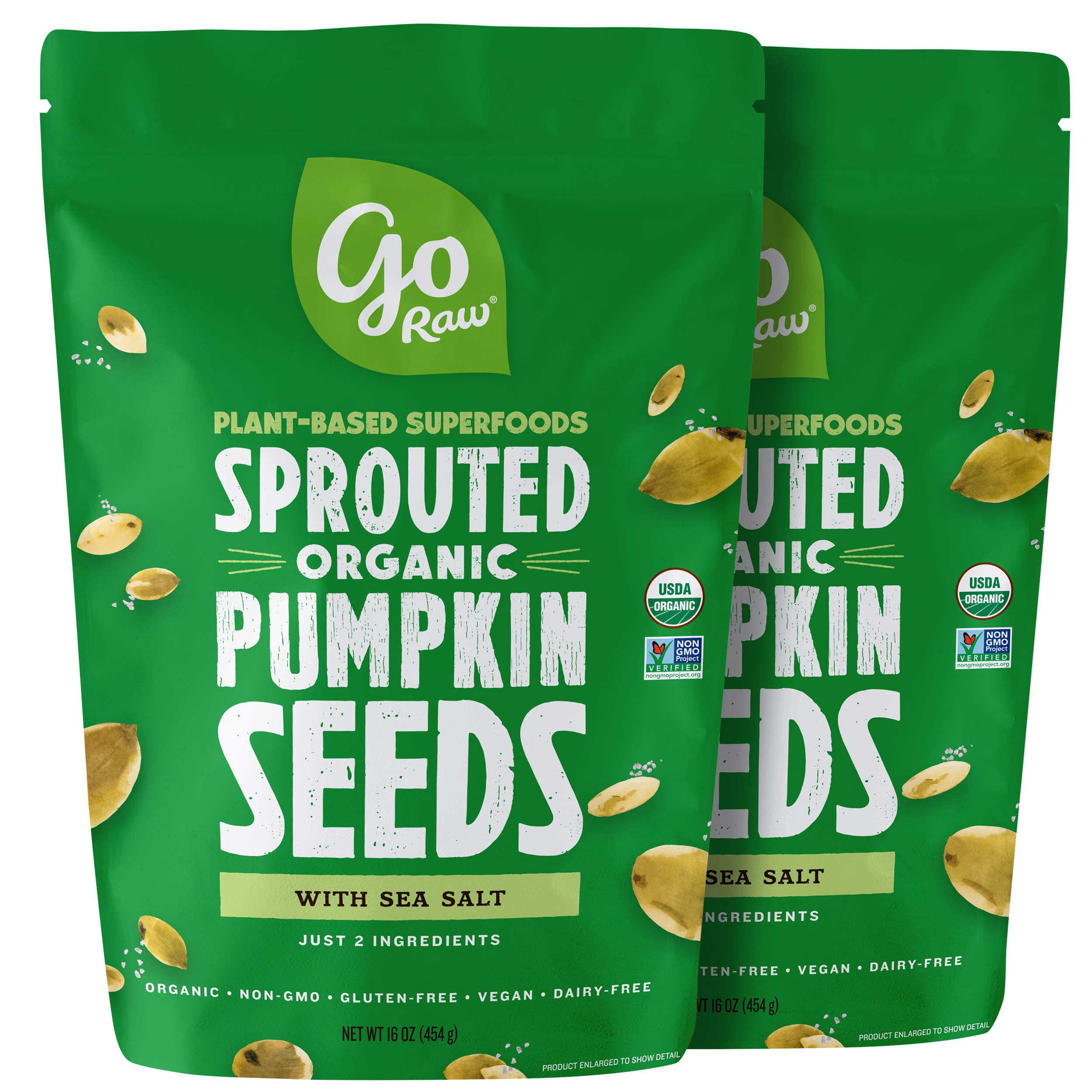 Go Raw Sprouted Pumpkin Seeds, Pack of 2 Bags | Keto | Vegan | Gluten Free Snacks| Organic | Superfood by Go Raw (Image #1)
